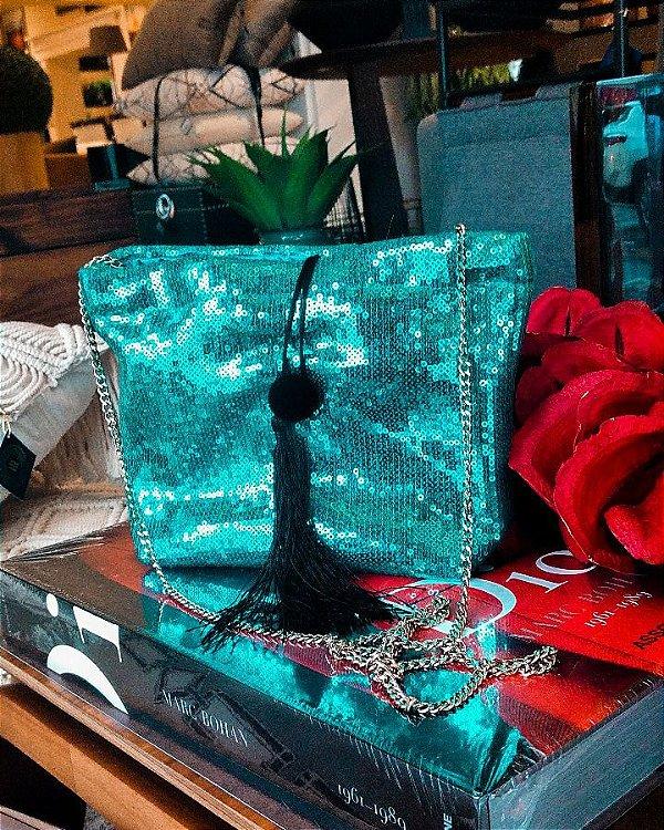 Bolsa quadrada paetês esmeralda