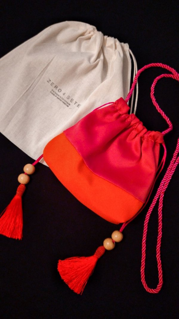 Bolsa color blocking pink & orange