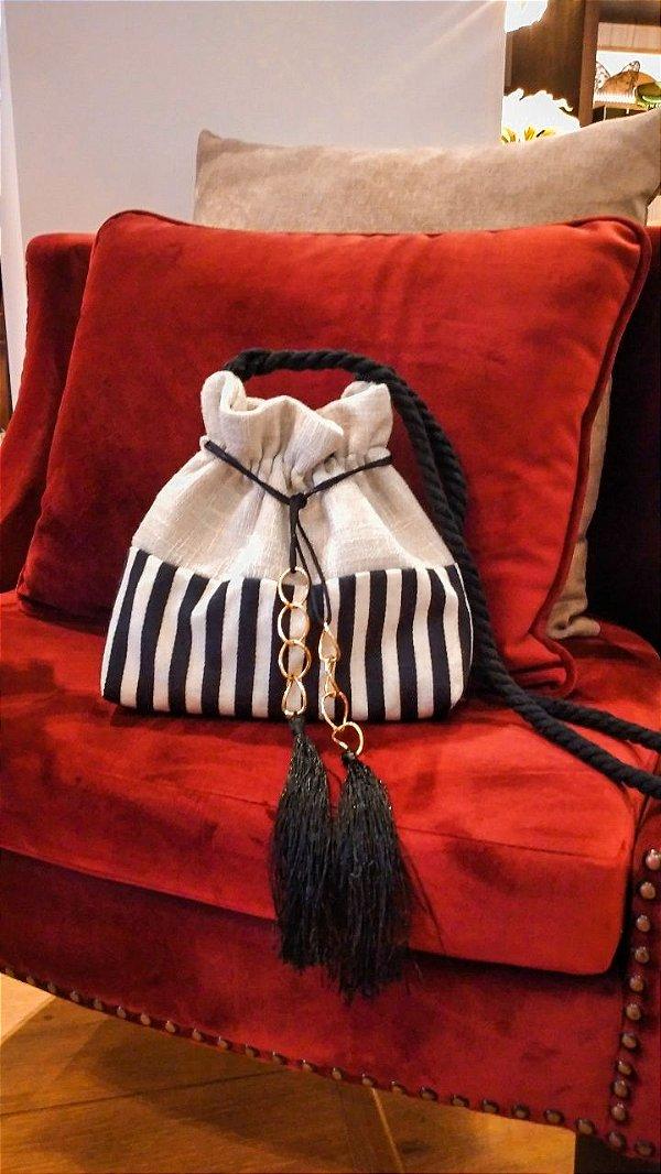 Bolsa listras black White & linho