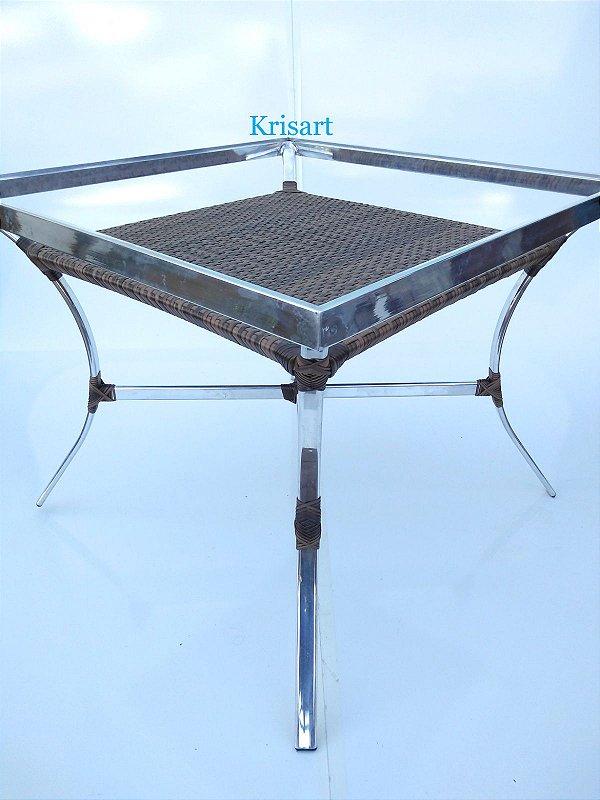 mesa melom quadrada 4 lugares pé simples