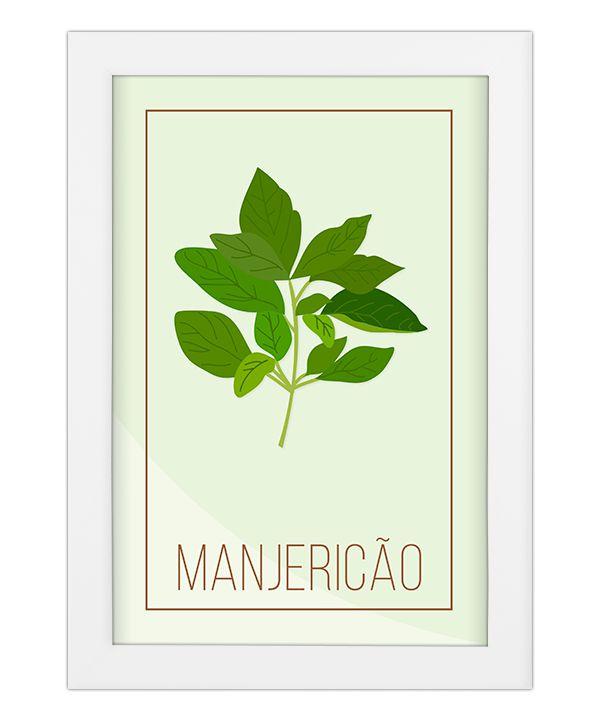 Quadro para cozinha  Manjericão - Coleção Meu Tempero
