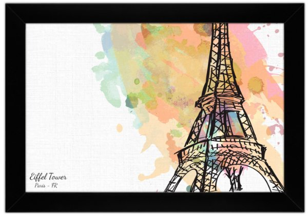 Quadro Torre Eiffel em Aquarela