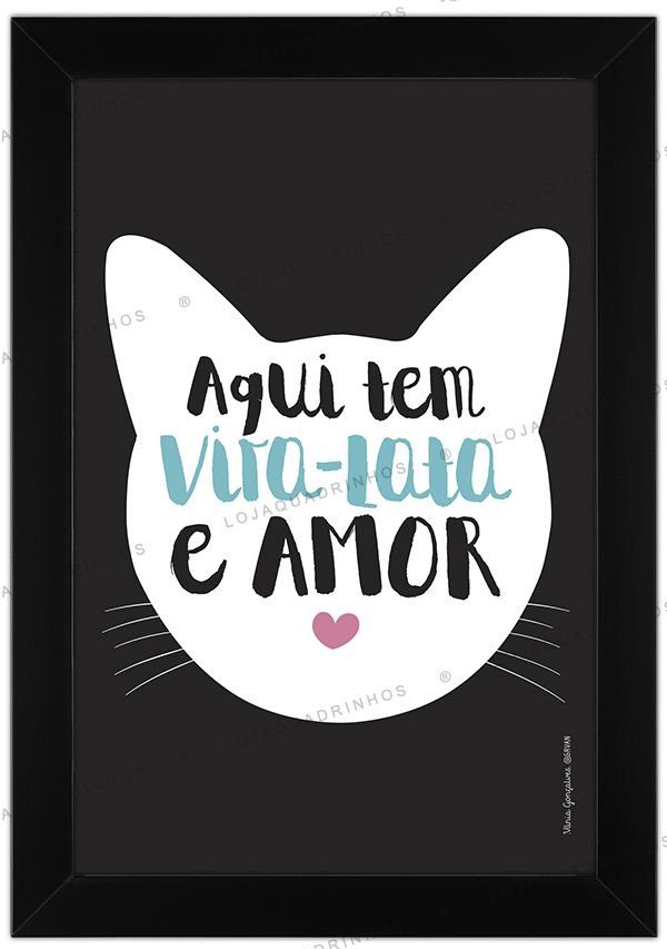 Quadro de Gato Vira-Lata Branco - Aqui tem Vira-Lata e Amor