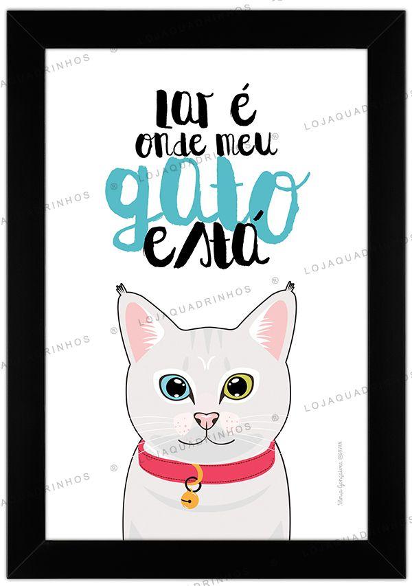 Quadro de Gato Branco com Olhos Coloridos - Lar é Onde Meu Gato Está