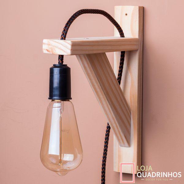 Luminária de Parede com Cabo Preto e Cobre