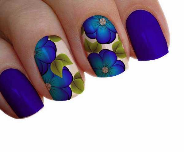 Películas ou Adesivos decorados para unhas  Floral Azul