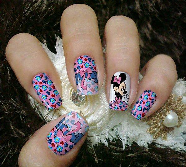 Películas ou Adesivos decorados para unhas  Minnie Laço Rosa