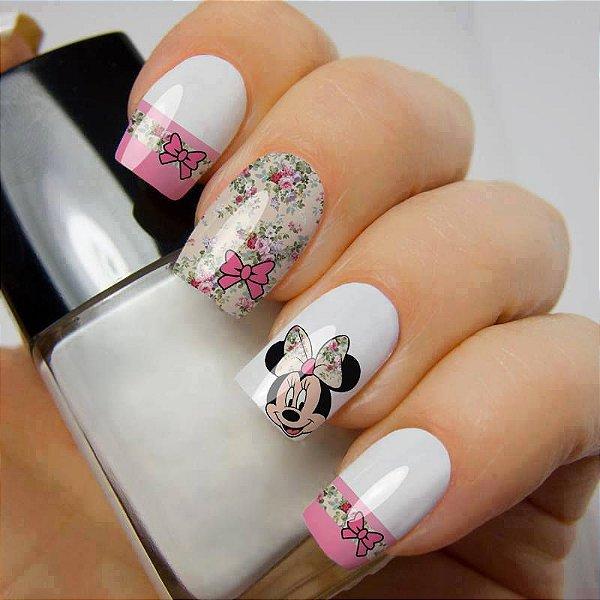 Películas ou Adesivos decorados para unhas  Minnie Floral