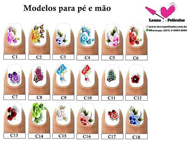 kit Revenda Adesivos  de Unhas para pés e mãos Inspiradas em modelos Artesanais - 18 Cartelas