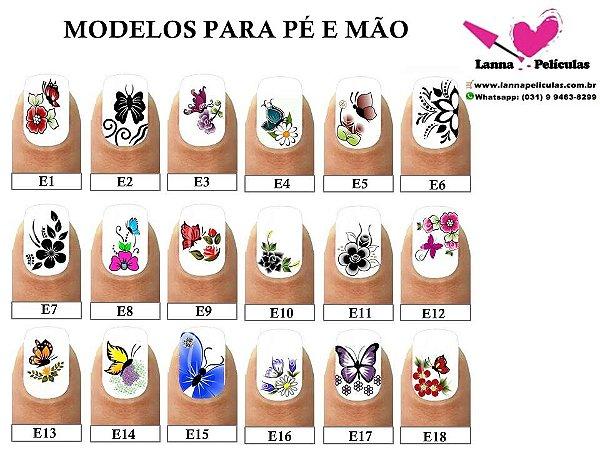 kit Películas de unhas para pés e mãos Inspiradas em modelos Artesanais - 18 Cartelas