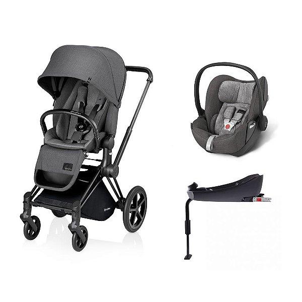 Carrinho Priam Manhatan Grey com Bebê Conforto Cloud-Q e Base Q-Fix Cybex