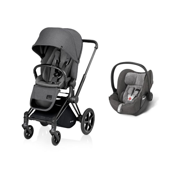 Carrinho Priam Manhatan Grey com Bebê Conforto Cloud-Q Cybex