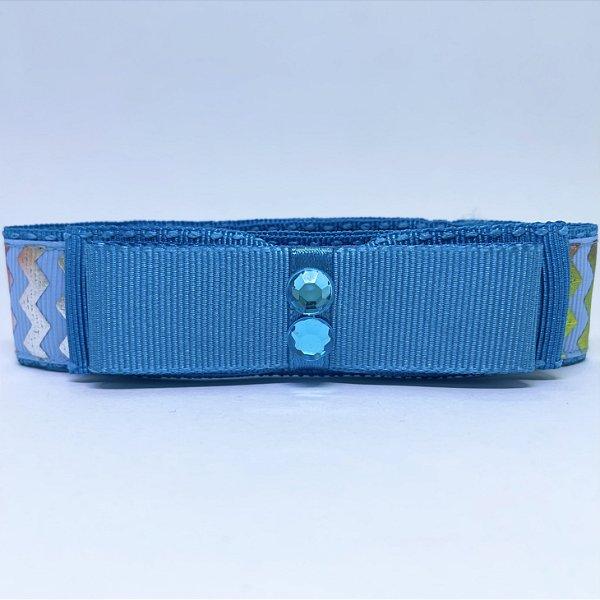 Coleira Glamu Pet Azul com Detalhes em Fita Neon e Pedraria Azul