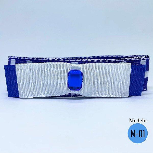 Coleira Glamu Pet Azul Royal com Detalhes em Fita Estampada