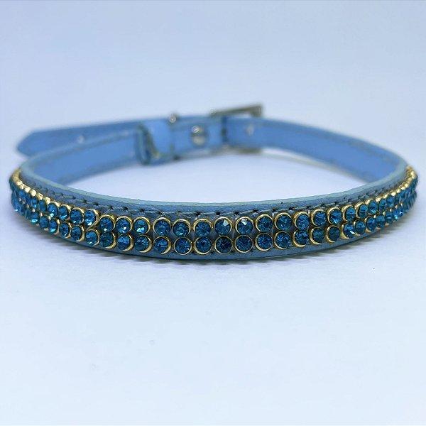 Coleira Glamu Pet Couro Fina Azul com Detalhes em Strass