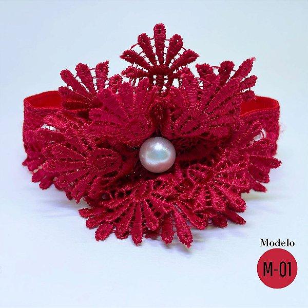 Coleira Glamu Pet Vermelha com Detalhes em Renda de Gripir e Pérolas
