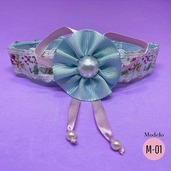 Coleira Glamu Pet com Detalhes em Tecido Florido e Fitas