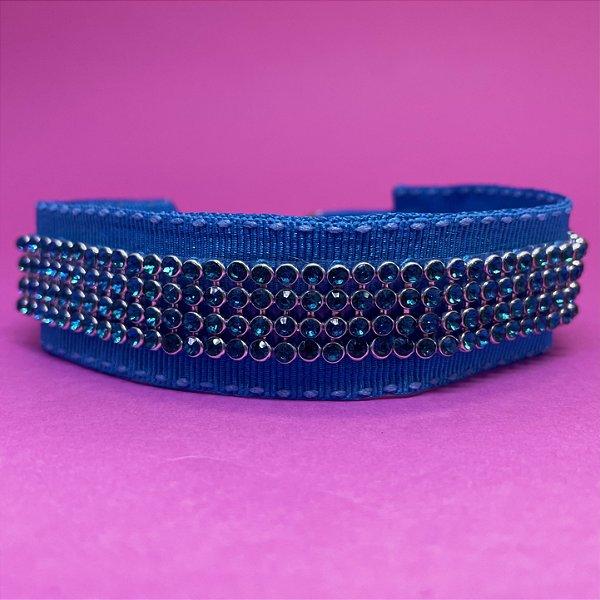Coleira Glamu Pet Azul com Detalhes em Strass Azul