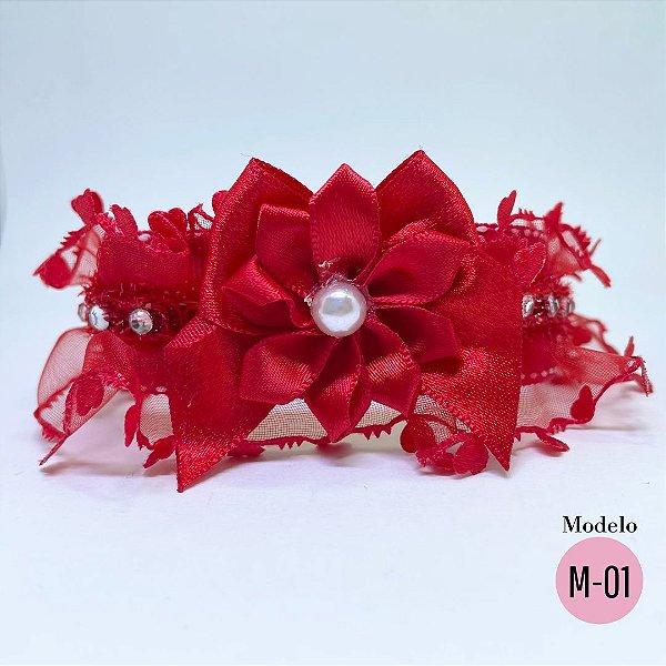 Coleira Glamu Pet Vermelha com Detalhes em Renda Corações e Cetim