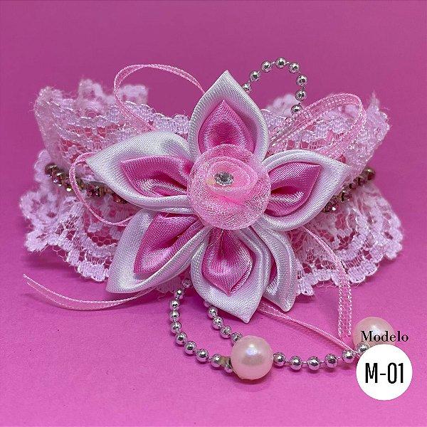 Coleira Glamu Pet com Detalhes em Flor de Cetim e Miçangas