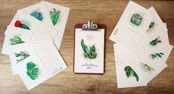 Calendário Plantinhas 2017 com prancheta - Pequeno
