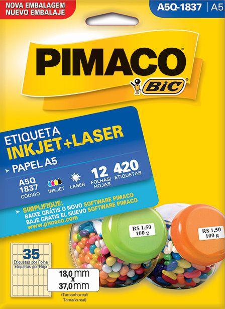 Etiqueta Inkjet/Laser A5Q-1837 Pimaco
