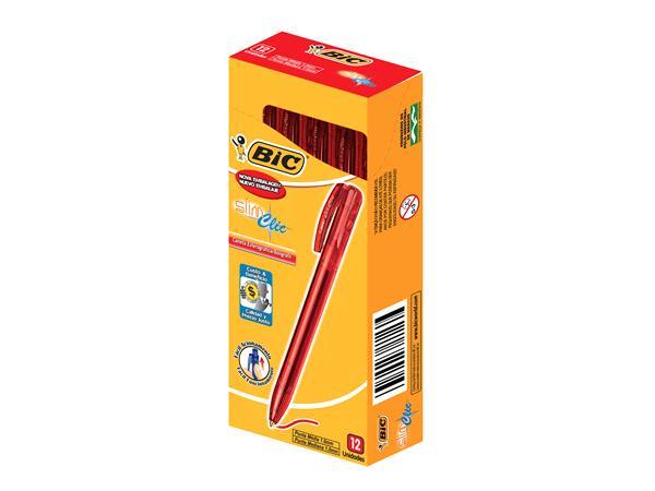 Caneta Retratil 1.0 Slim Clic Vermelha Com 12 Unidades Bic