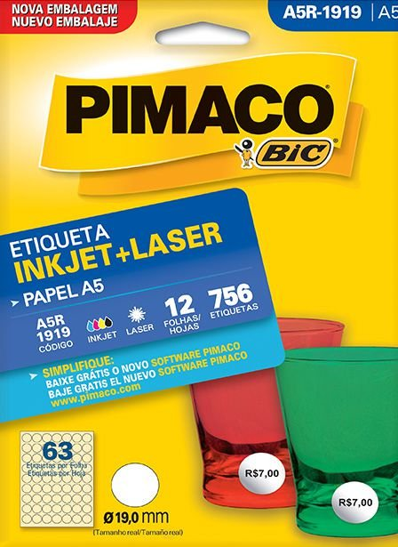Etiqueta Inkjet/Laser A5R-1919 Pimaco