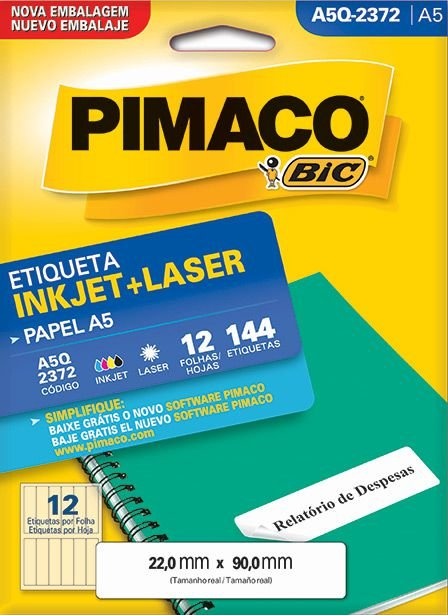 Etiqueta Inkjet/Laser A5Q-2372 Pimaco
