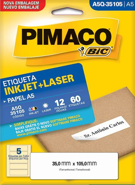 Etiqueta Inkjet/Laser A5Q-35105 Pimaco