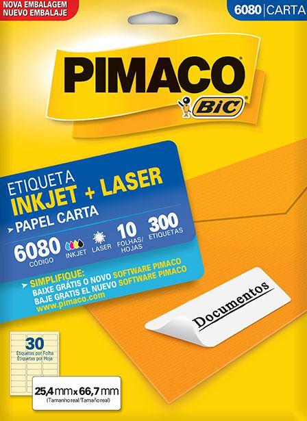 Etiqueta Inkjet/Laser Carta 6080 Pimaco