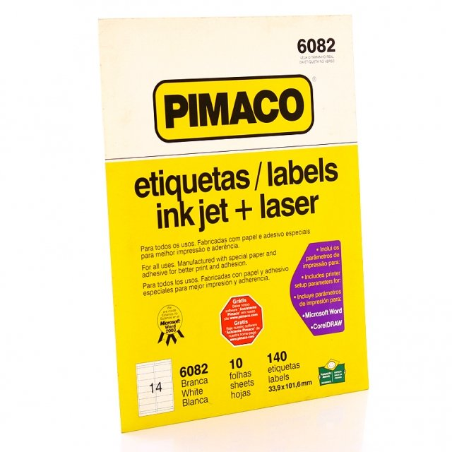 Etiqueta Carta INK JET R.6082 Pimaco