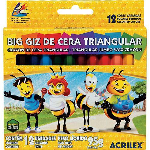 Giz De Cera Triangular 12 Cores R.93120000 Acrilex