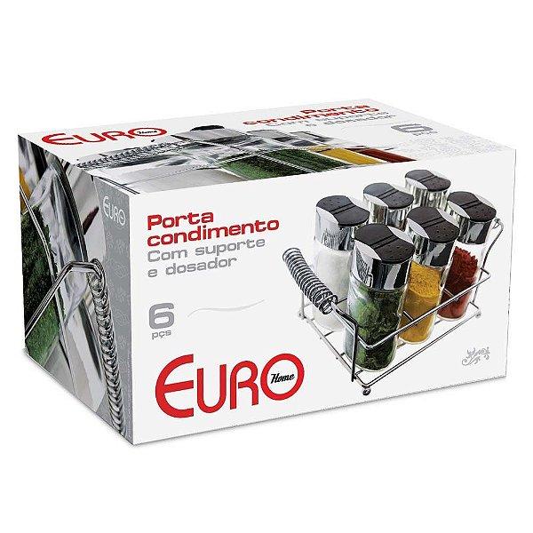 Porta Condimentos Com Suporte 6 Peças OSG-6PCS Euro Home