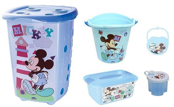 Kit  Infantil Mickey Baby 5 Peças Plasutil