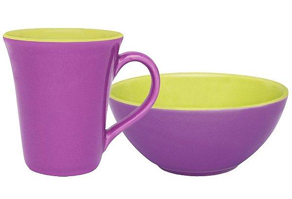 Conjunto Matinal Caneca + Tigela Bicolor Violeta e Verde Oxford