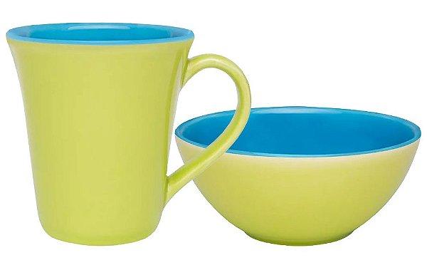 Conjunto Matinal Caneca + Tigela Bicolor Verde e Azul Oxford