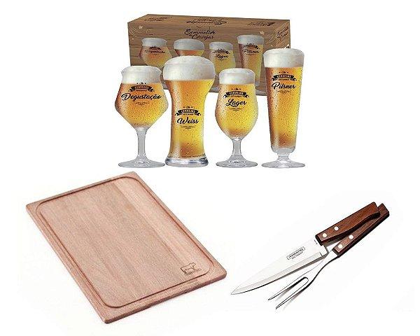 Conjunto Para Churrasco + Tabua de Corte+ Taças de Cerveja