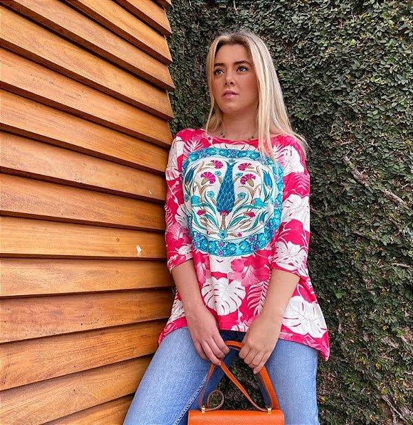 Anemess - Blusa ampla Pink  /  TAMANHO ÚNICO - VESTE DO P AO GG  Ref: 91215