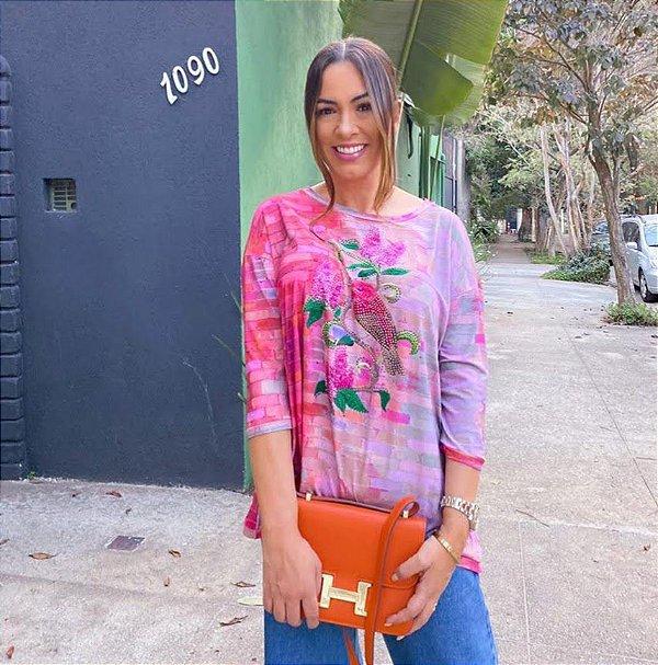 Anemess - Blusa ampla Pink Passarinho  /  TAMANHO ÚNICO - VESTE DO P AO GG  Ref: