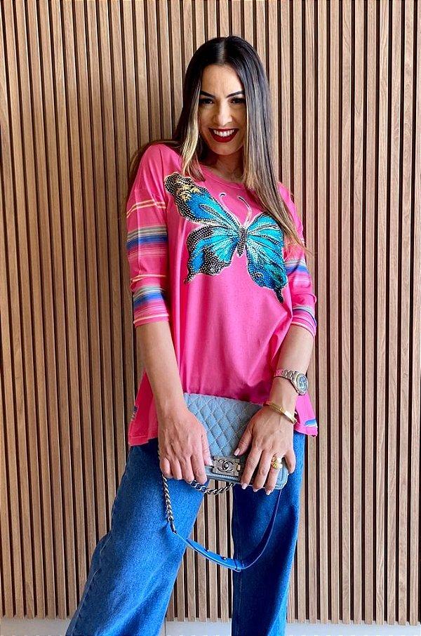 Anemess - Blusa ampla Pink com borboleta azul    /  TAMANHO ÚNICO - VESTE DO P AO GG  Ref:
