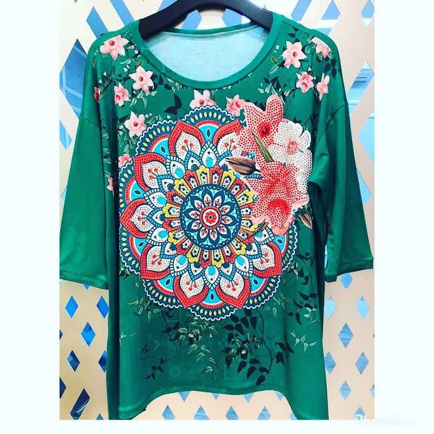 Anemess - Blusa ampla Mandala com fundo verde floral  - TAMANHO ÚNICO - VESTE DO P AO GG