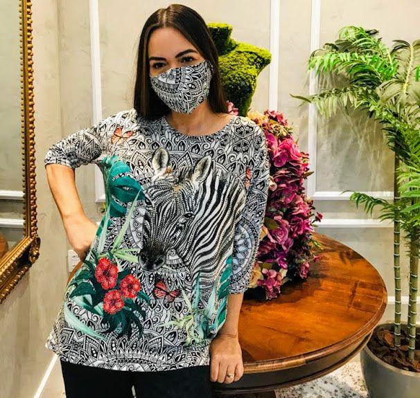 Anemess - Blusa ampla Zebra / acompanha máscara /  TAMANHO ÚNICO - VESTE DO P AO GG