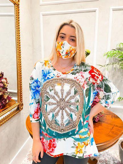 Anemess - Blusa ampla Timão Floral  / acompanha máscara   - TAMANHO UNICO -  VESTE DO P AO GG