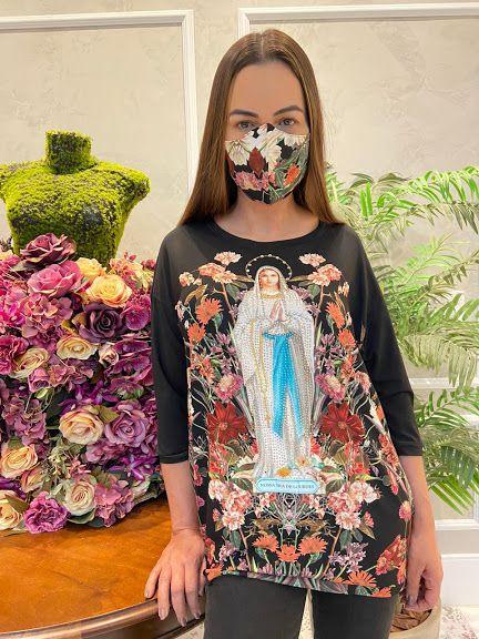 Anemess - Blusa ampla Nossa Senhora de Lourdes  / acompanha máscara /  TAMANHO ÚNICO - VESTE DO P AO GG  Ref: