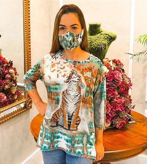 Anemess - Blusa ampla tigre TIEDYE / acompanha máscara /  TAMANHO ÚNICO - VESTE DO P AO GG  Ref: