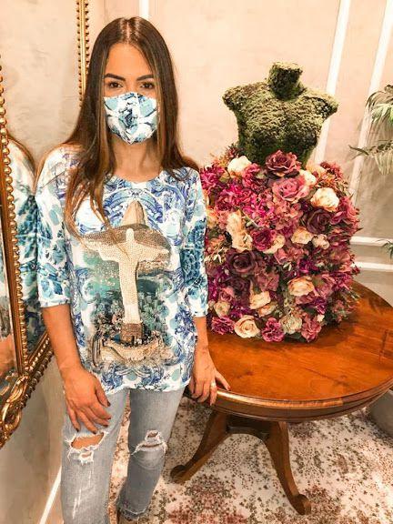 Anemess - Blusa ampla Cristo Redentor Azul / acompanha máscara /  TAMANHO ÚNICO - VESTE DO P AO GG  Ref: