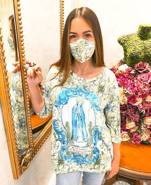 Anemess - Blusa ampla Nossa Senhora Rosário de Fatima  / acompanha máscara /  TAMANHO ÚNICO - VESTE DO P AO GG  Ref: 91012