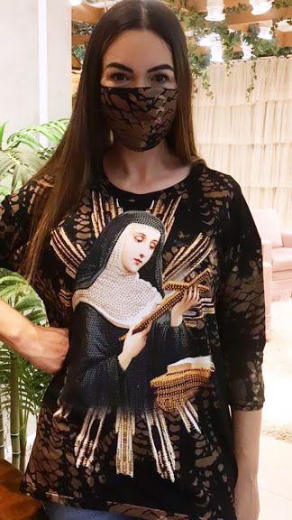 Anemess - Blusa ampla Santa Rita  / acompanha máscara /  TAMANHO ÚNICO - VESTE DO P AO GG  Ref: 91039