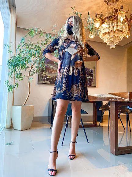 Anemess - Vestido Santa Rita  / acompanha máscara /  TAMANHO ÚNICO - VESTE DO P AO G  Ref: 91039